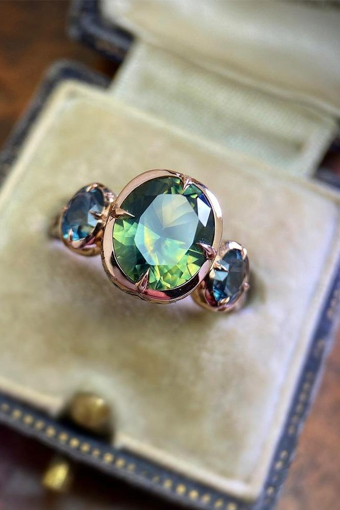 sapphire engagement rings rose gold engagement rings