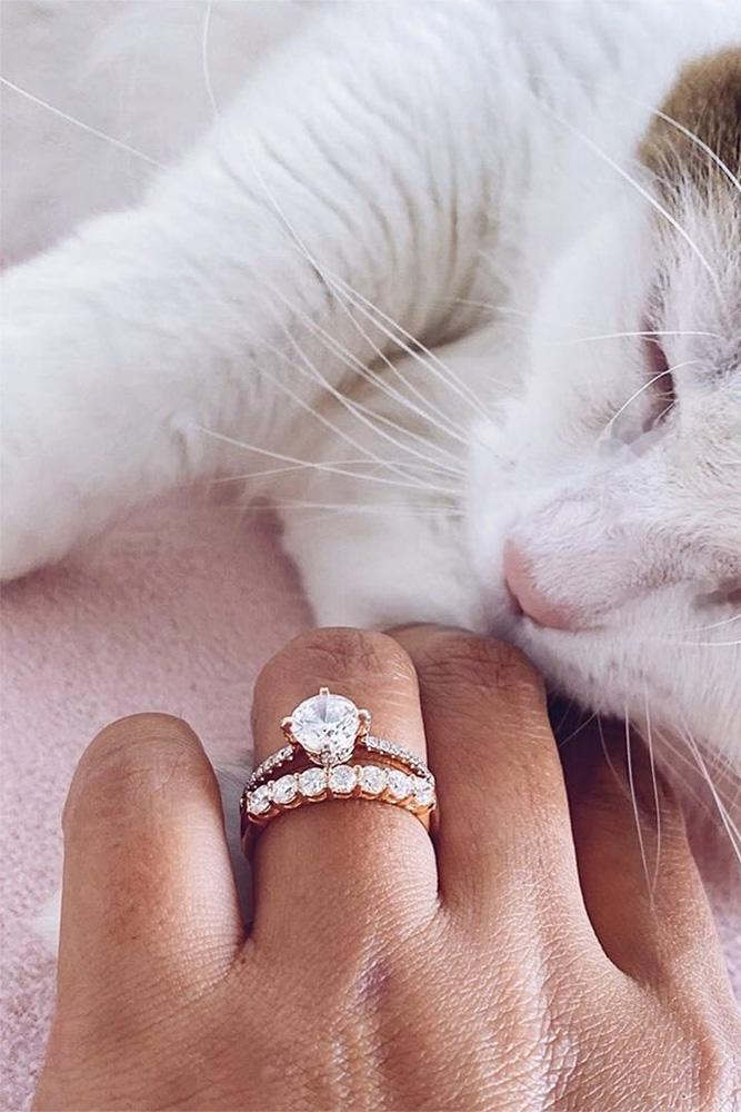 simple engagement rings rose gold engagement rings wedding ring sets