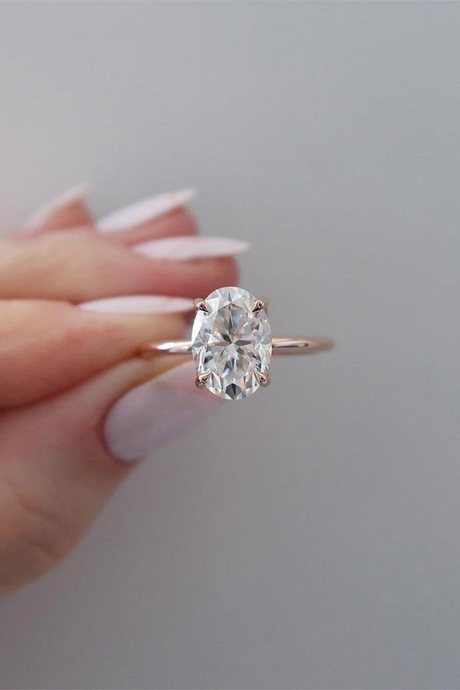 simple engagement rings rose gold rings oval cut engagement ring