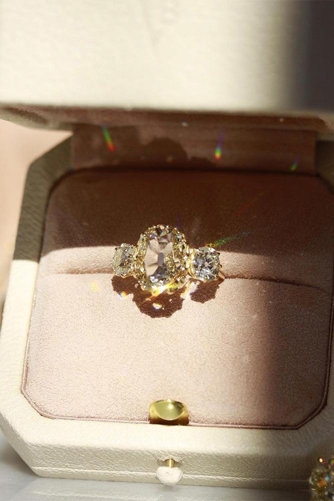 vintage engagement rings three stone engagement rings