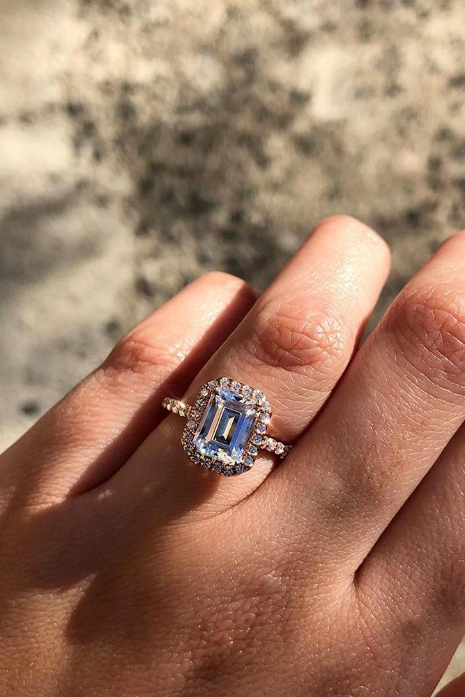 halo engagement rings emerald cut rings