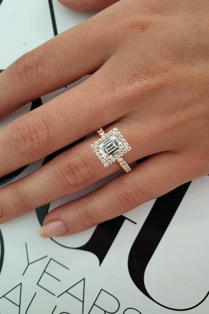 halo engagement rings emerald cut rings rose gold