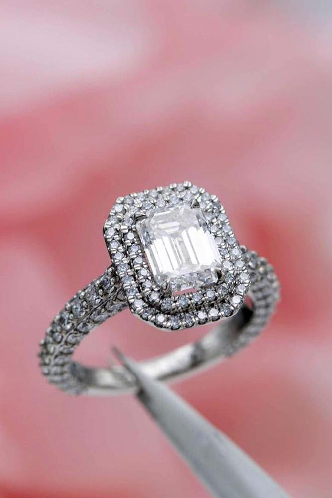 halo engagement rings emerald cut rings white gold