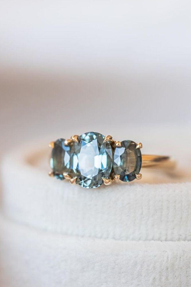 oval engagement rings three stone engagement rings1