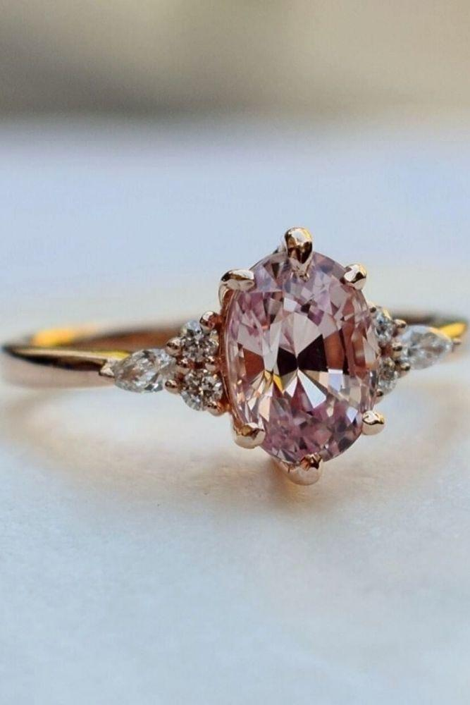 oval engagement rings with colored gemstones