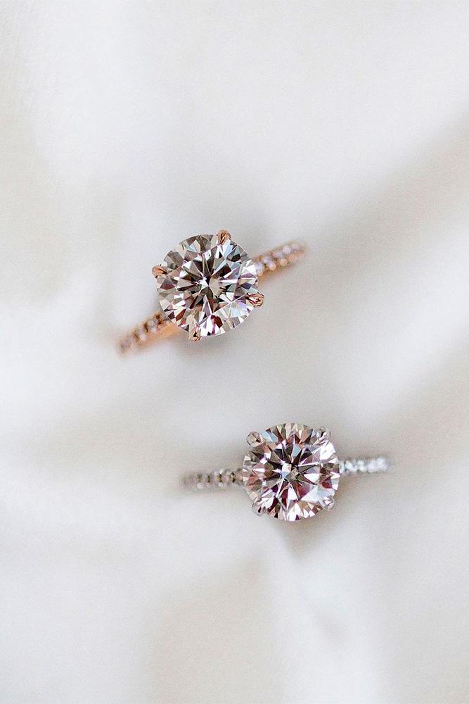 moissanite engagement rings round cut rings solitaire