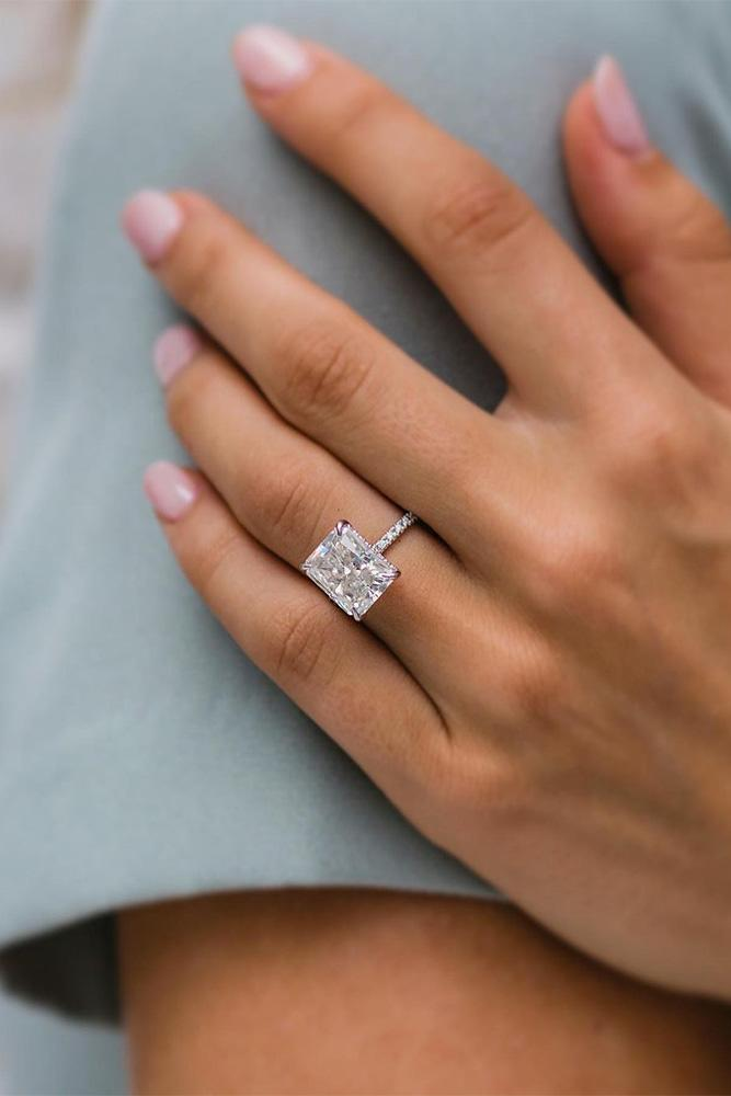 moissanite engagement rings solitaire rings cushion cut ring