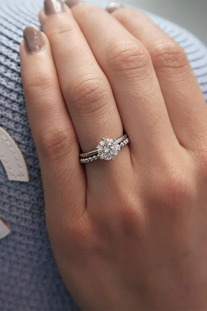 simple engagement rings round cut ring bridal sets
