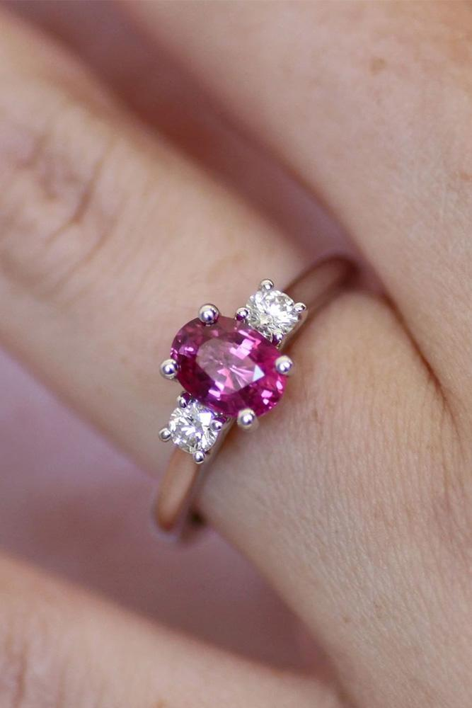 three stone engagement rings colored gemstones oval cut ring