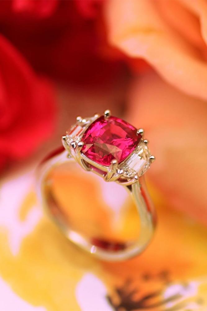 three stone engagement rings colored gemstones unique ring