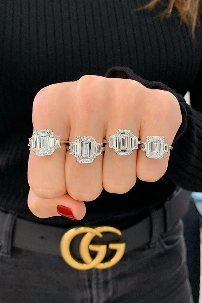 three stone engagement rings white gold engagement ring best rings