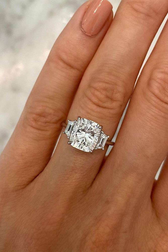 three stone engagement rings white gold engagement ring