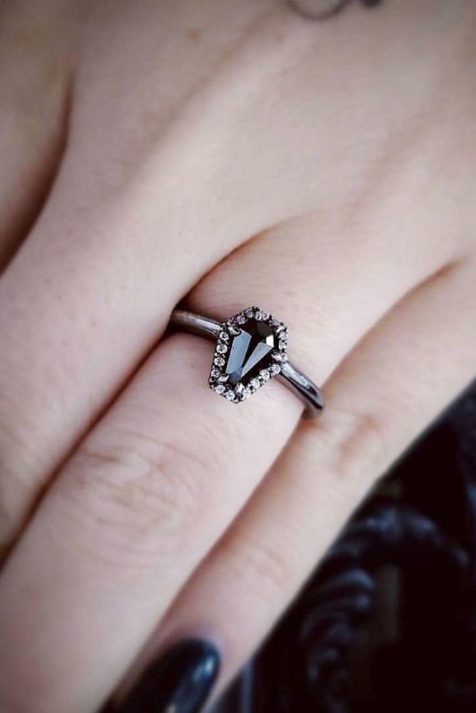 black diamond engagement rings halo rings