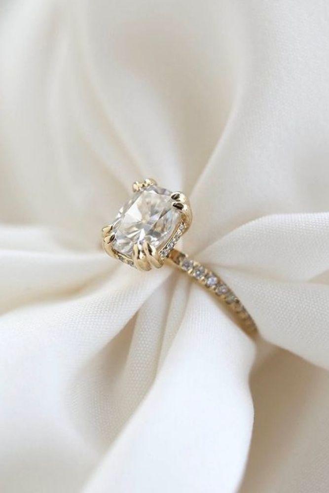 simple engagement rings emerald cut diamond rings2