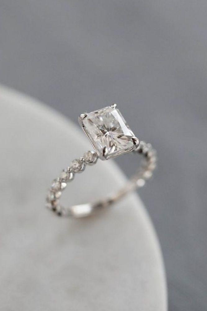 simple engagement rings emerald cut diamond rings