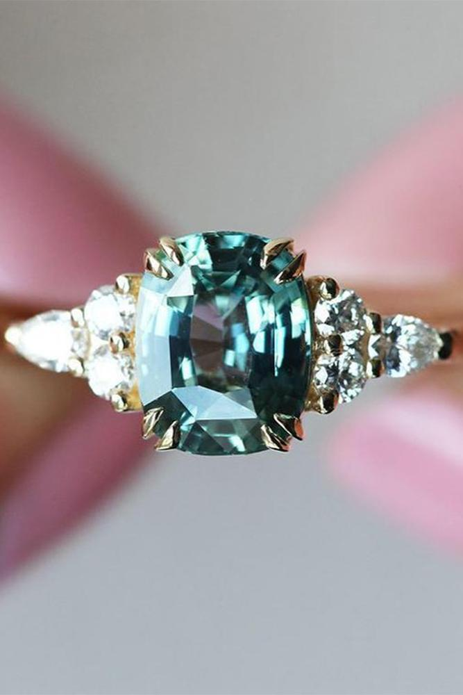 sapphire engagement rings green sapphire rings rose gold rings