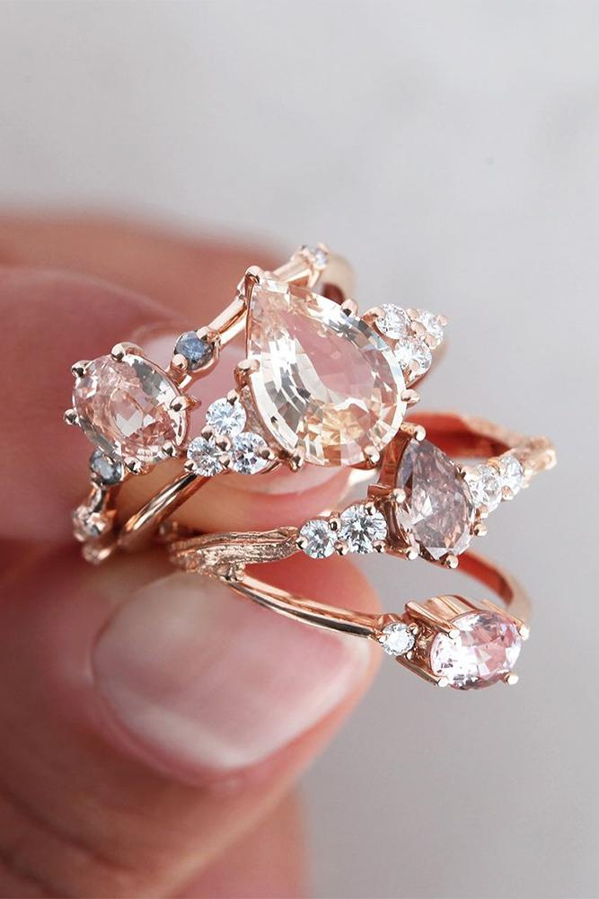 sapphire engagement rings pink sapphire rings rose gold rings