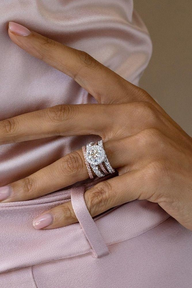 bridal sets wedding sets with round diamonds in rose gold1