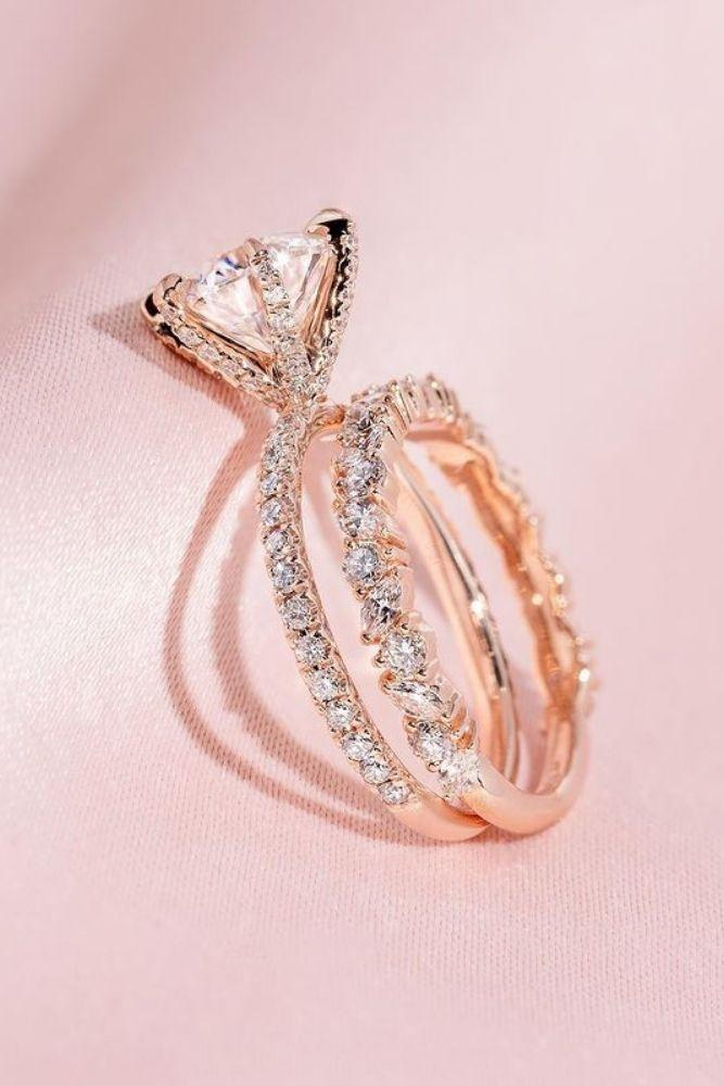 bridal sets wedding sets with round diamonds in rose gold