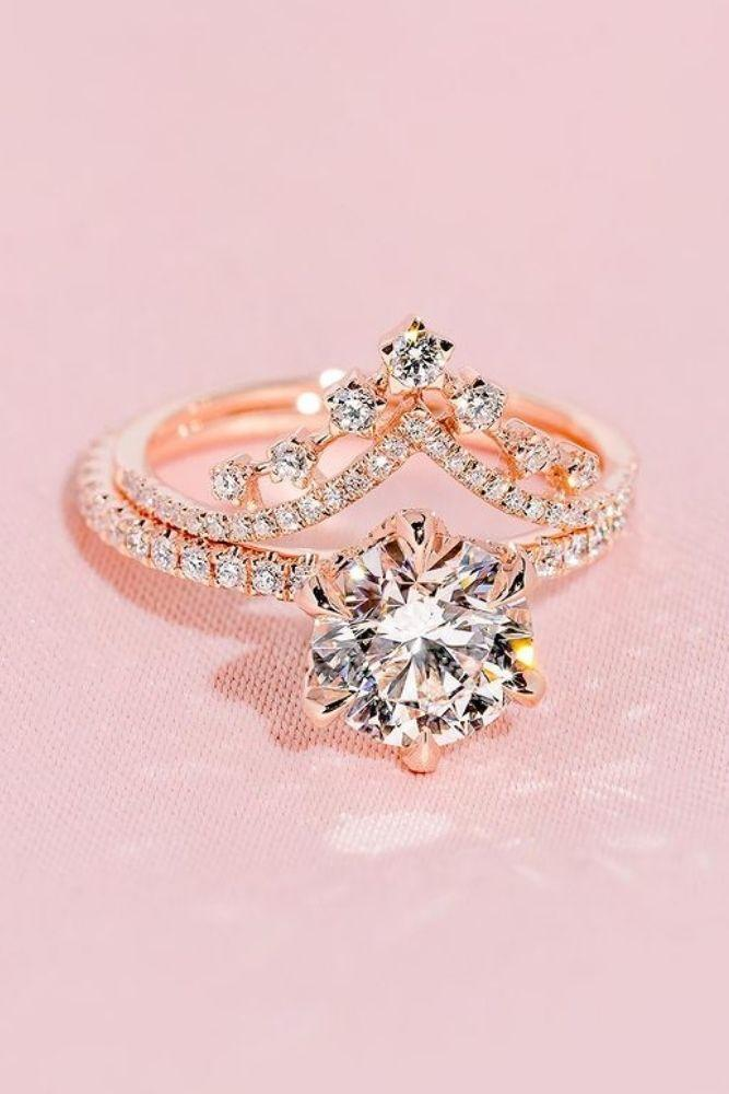 bridal sets wedding sets with round diamonds in rose gold2