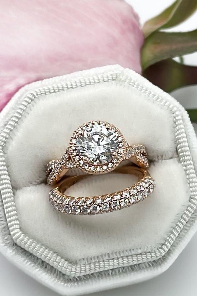 diamond wedding rings rose gold diamond wedding sets