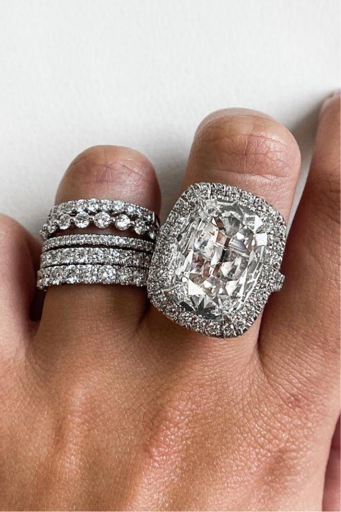 diamond wedding rings with emerald cut center stone2