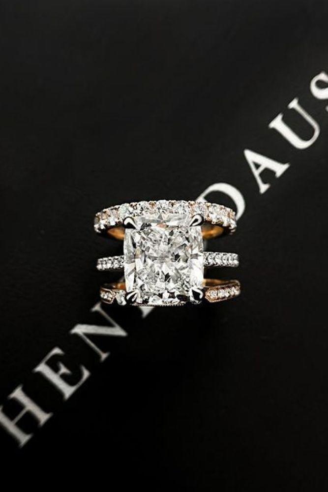diamond wedding rings with emerald cut center stone1
