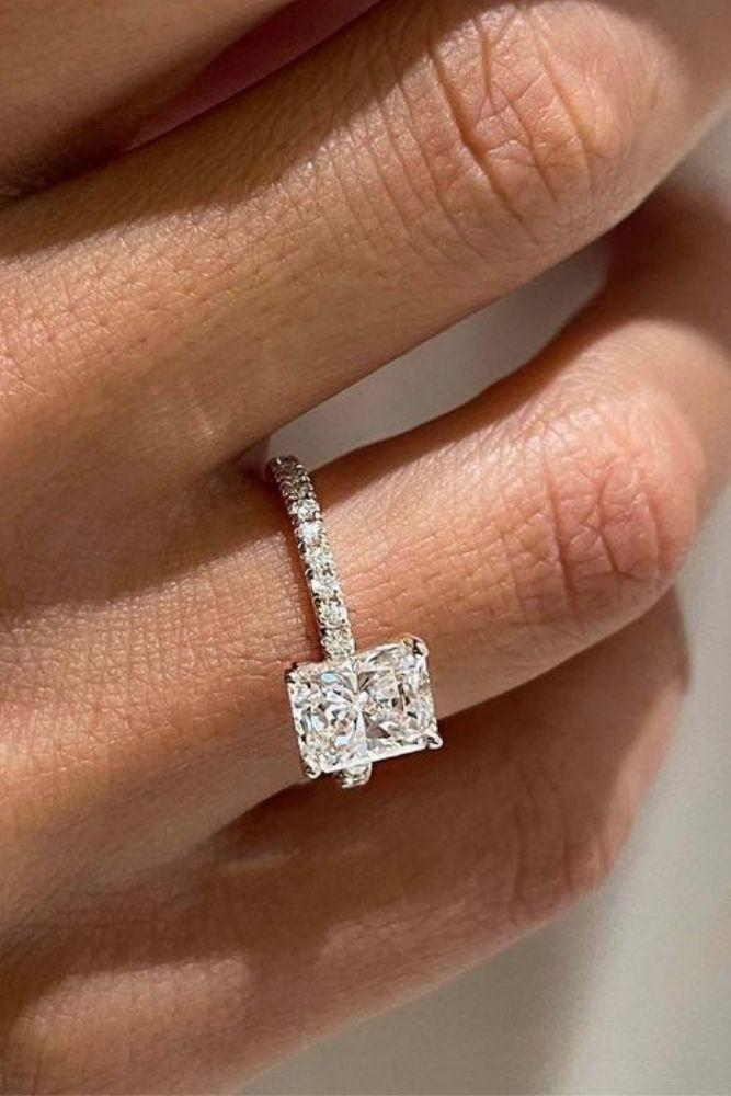 solitaire engagement rings cushion cut diamonds rings2