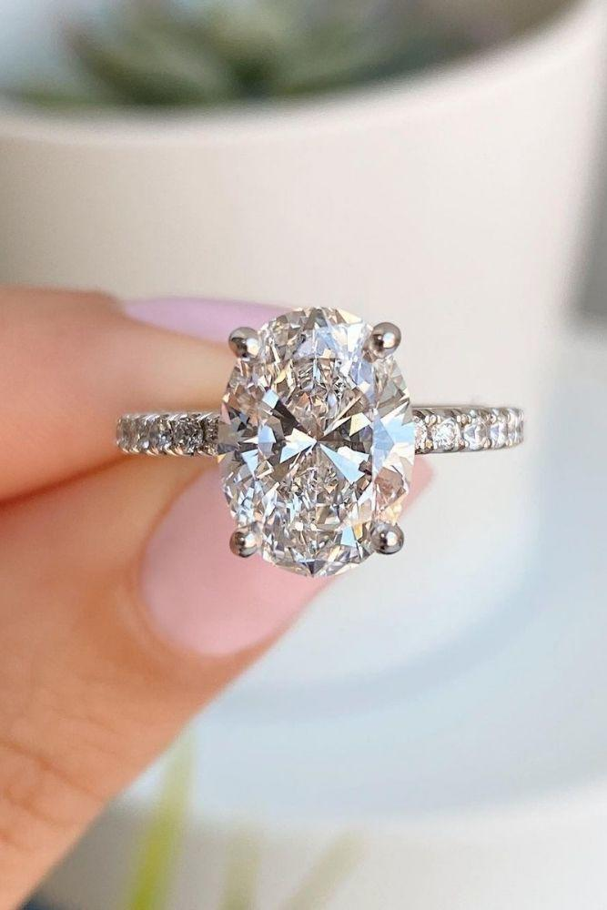 solitaire engagement rings simple with oval center stone2