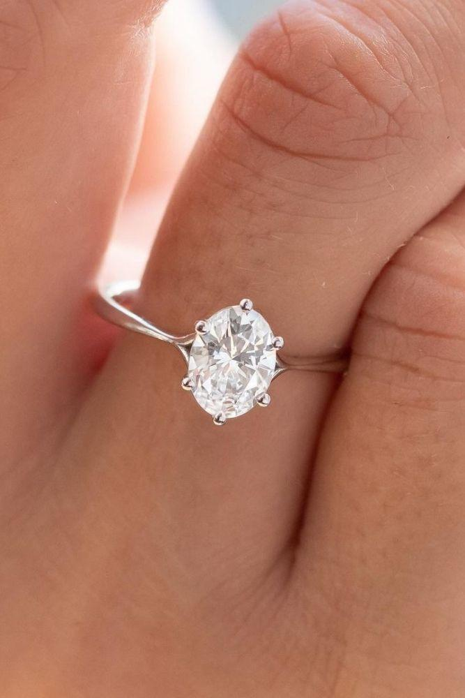solitaire engagement rings simple with oval center stone